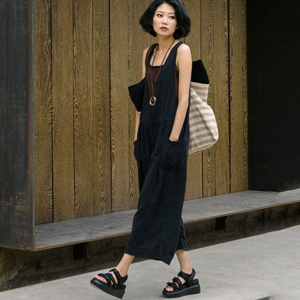 Summer Cotton Loose Casual Folded Women Black Overalls - Buykud