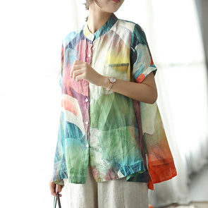 Loose Multicolor Stand Collar Casual Women Blouse