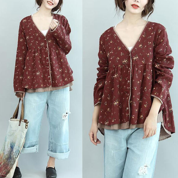 Floral Retro Women Casual Cotton Red Shirt - Buykud