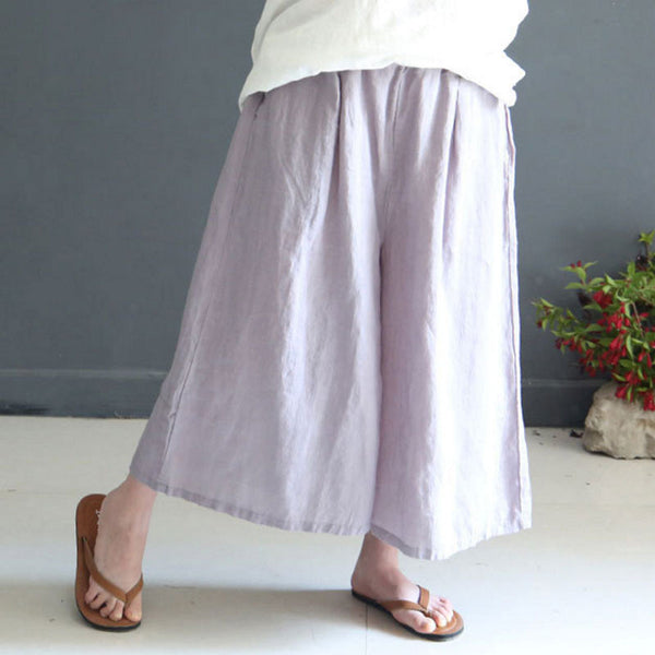 Summer Loose Casual  Linen Women Gray Wide Leg Pants