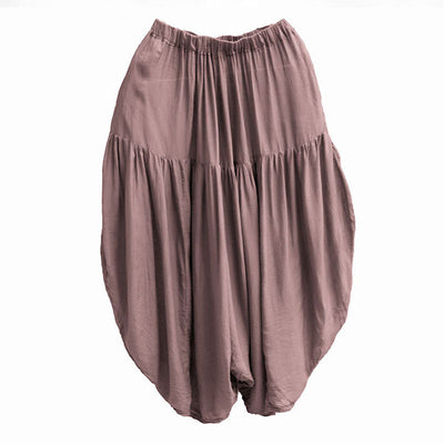 Loose Ethnic Women Pink Calf Length Harem Pants - Buykud