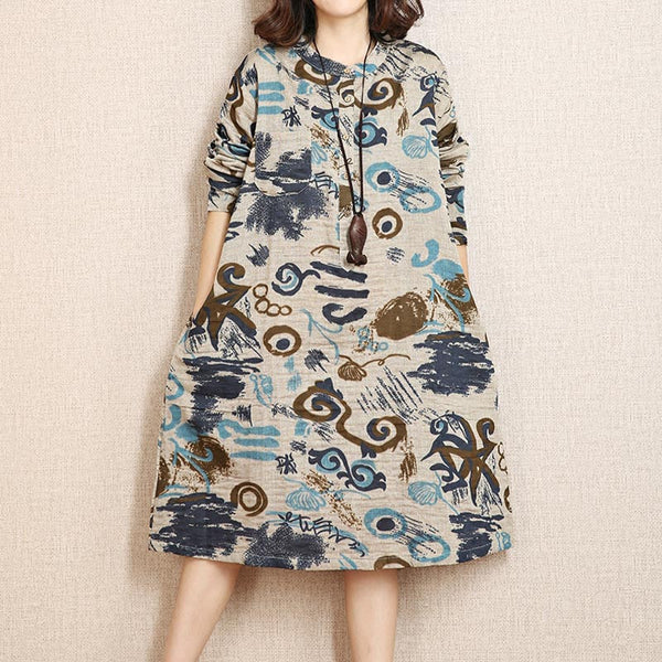 Printing Loose Retro Women Casual Cotton Linen Dress