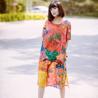 Printing Loose Splitting Women Casual Linen Colorful Red Dress - Buykud