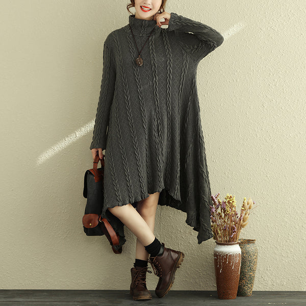 Winter Long Sleeve Turtleneck Knitted Dress Women Loose Dresses