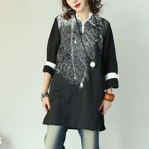 Casual Retro Leaf Grain Long Sleeves Black Shirt