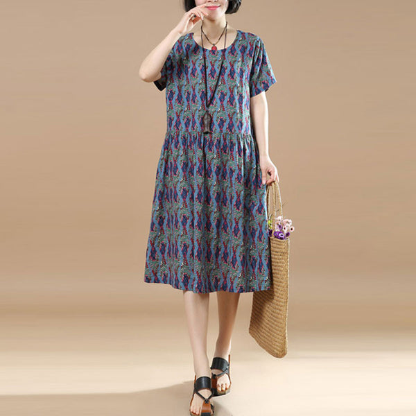 Summer Floral Short Sleeves Women Blue Dress