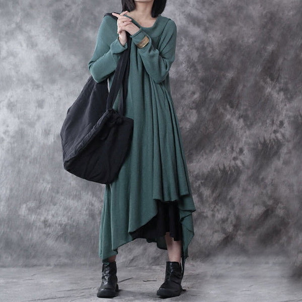 Retro Irregular Linen Women Dress