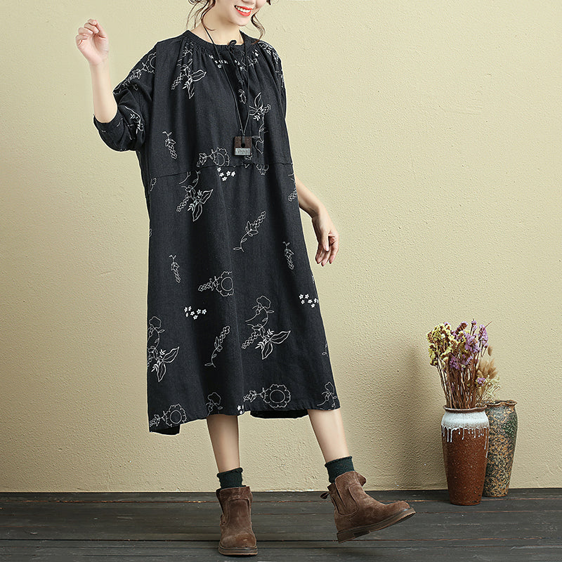 Women Round Neck Lacing Half Sleeve Printing Linen Dress - Buykud