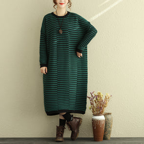 Women's Loose Casual Dress Winter Stripe Knitted Dresses - Buykud