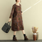 Women Retro Cotton Dress Winter Printed Loose Dresses - Buykud