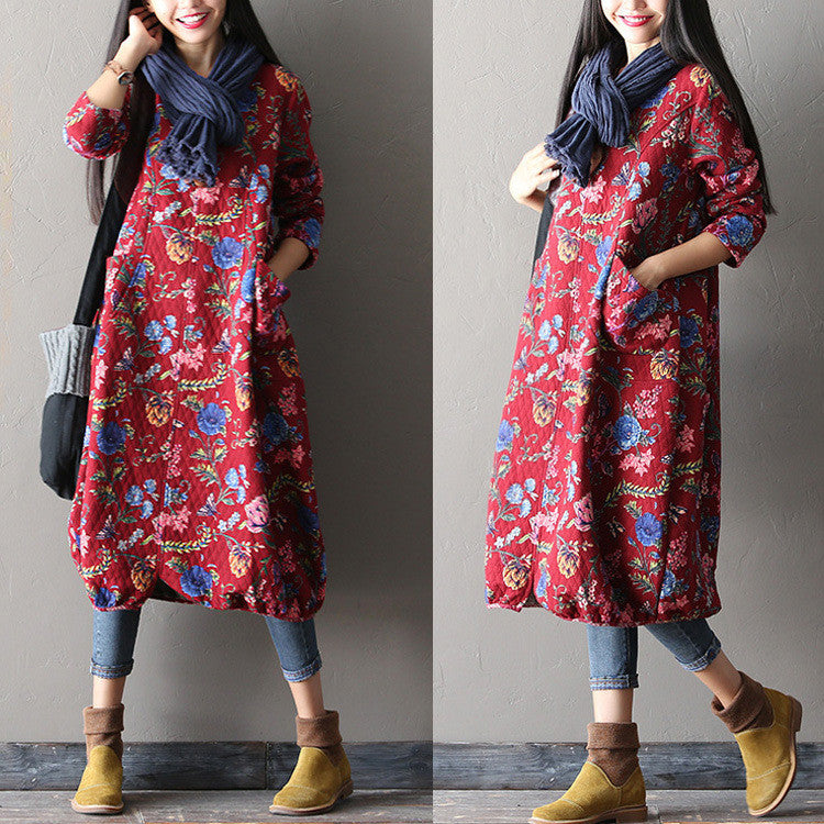 Women Print Casual Loose Cotton Dress