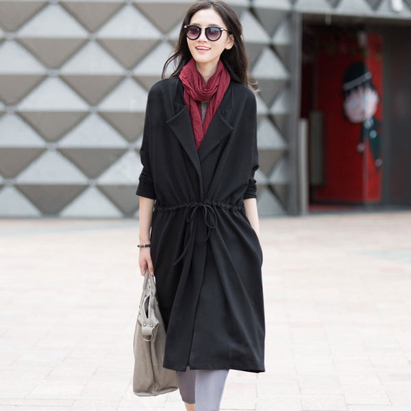 Lace Cotton Black Coat