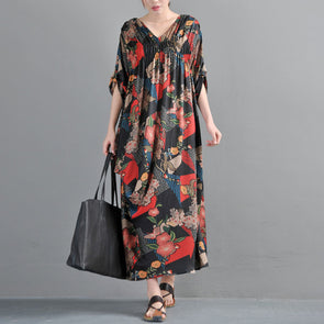 Women Printed Pleated V Neck Maxi Dress - Buykud