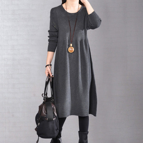 Simple Round Neck Knitted Long Sleeve Black Dress
