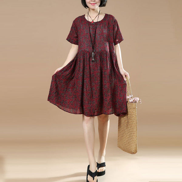 Loose Women Casual Linen Floral Round Neck Red Dress