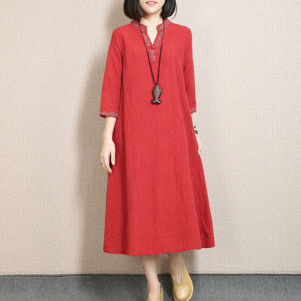 Retro Embroidered Three Quarter Sleeve Red Dress