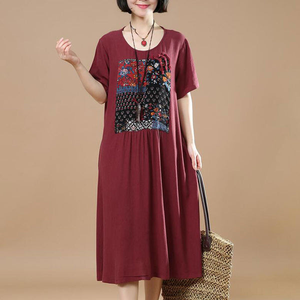 Dark Red Women Loose Summer Linen Cotton Ethnic Casual Dress - Buykud