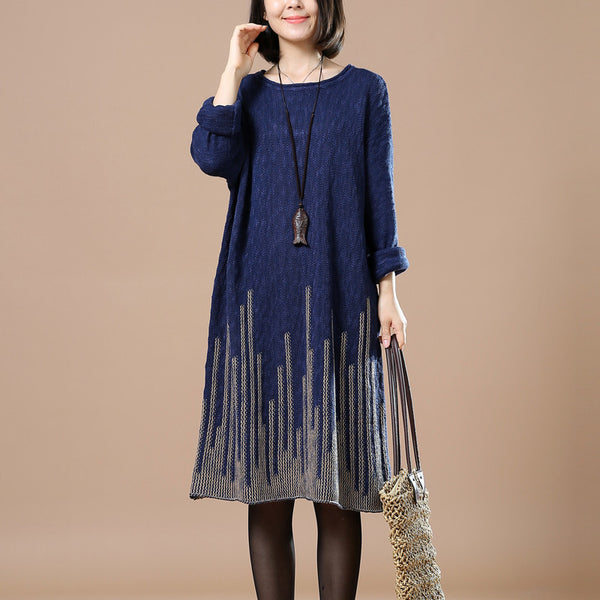 Casual Loose Autumn Long Sleeve Sweater Blue
