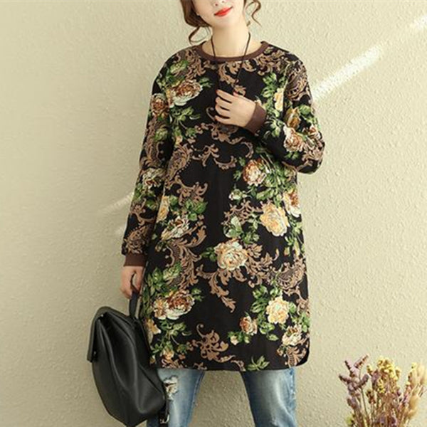 Round Neck Long Sleeve Women Linen Cotton Printing Dress - Buykud
