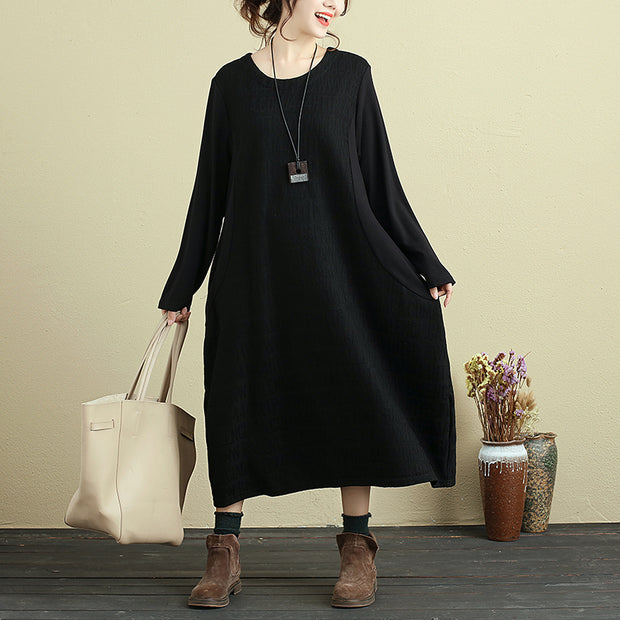 Delicate Embroidered Round Neck Long Sleeve Black Loose Women Dress - Buykud