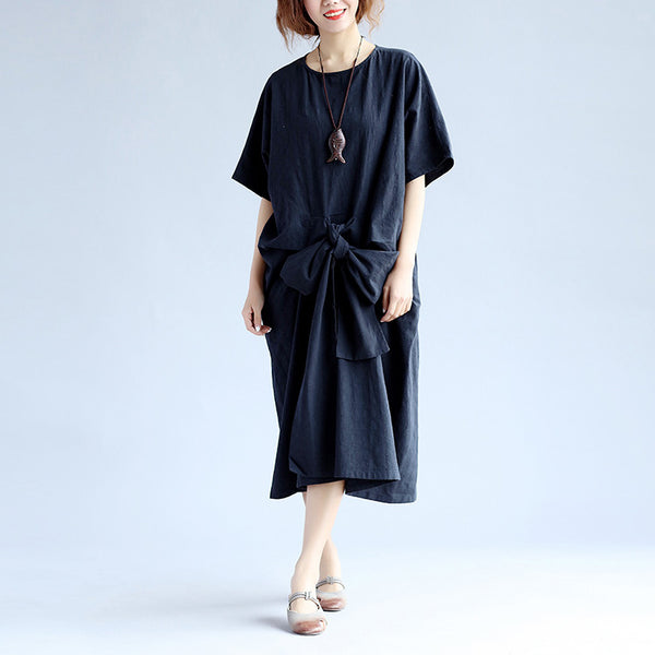 Loose Lacing Casual Women Black Dress - Buykud