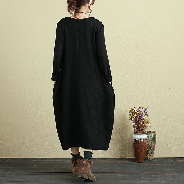 Embroidered Round Neck Long Sleeve Black Loose Women Dress - Buykud