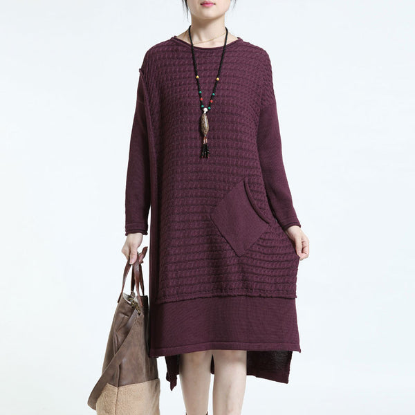 Causal Long  Loose Round Neck Knitted Sweater Dress Wine Red - Buykud