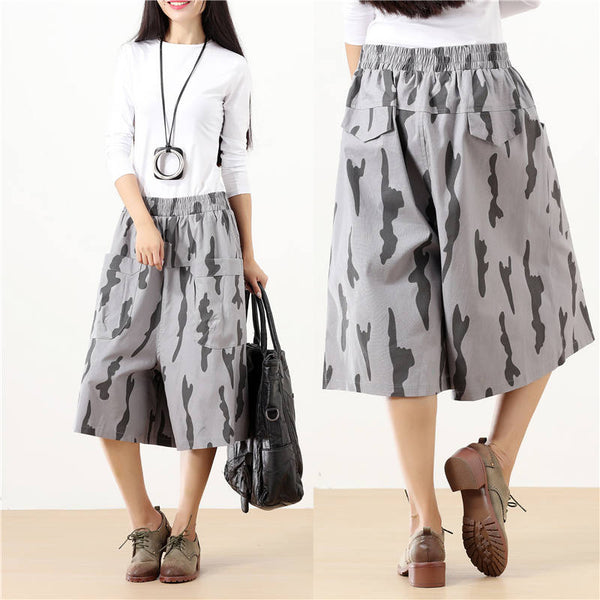 Double Pocket Chic Women Summer Printing Casual Wide Leg Gray Pants - Buykud