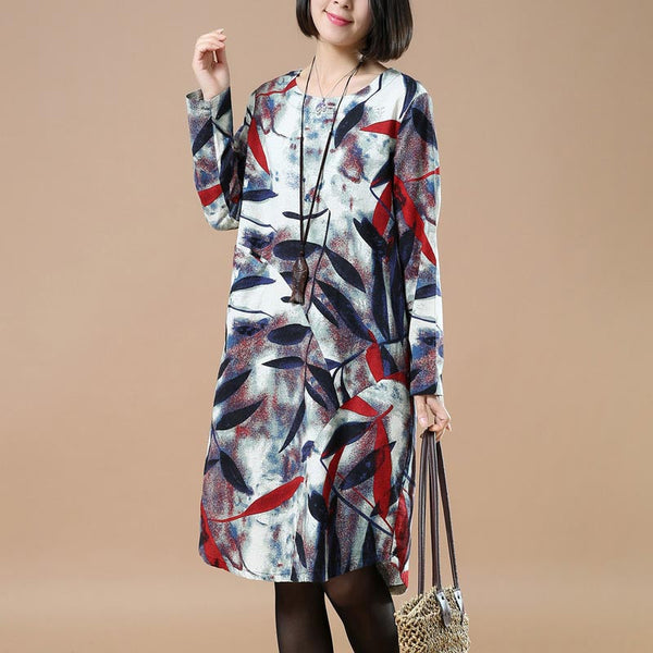 Spring Retro Printing Comfortable Red Dress