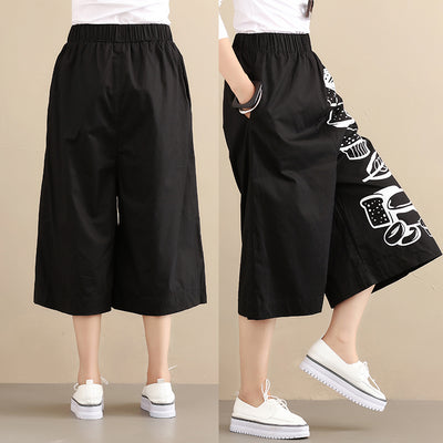 Fashionable Chic Bread Image Loose Black Women Pants - Buykud