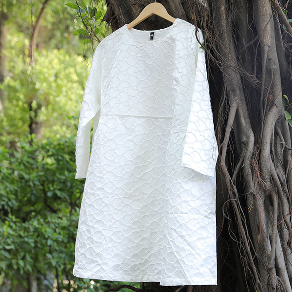 Round Neck Long Sleeve Loose Women White Dress - Buykud