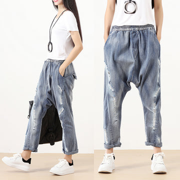 Fashionable Punk Hole Cotton Dark Blue Women Pants - Buykud