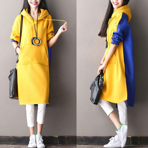 Hooded Splicing Loose Long Pullover