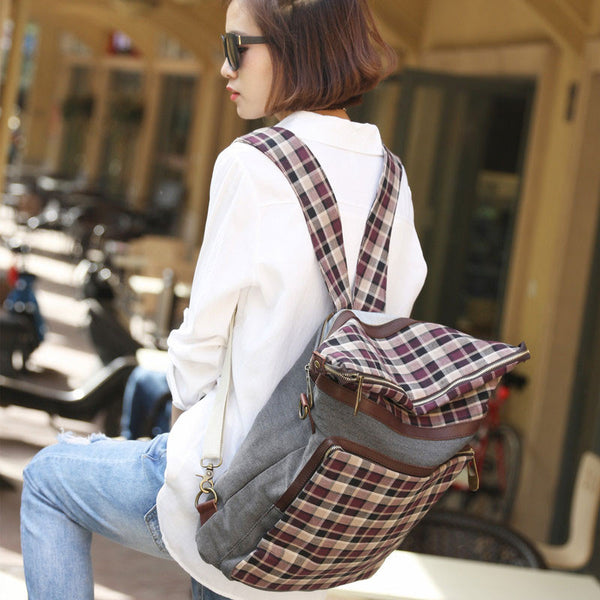 Ethnic Style Women Canvas Lattice Backpack