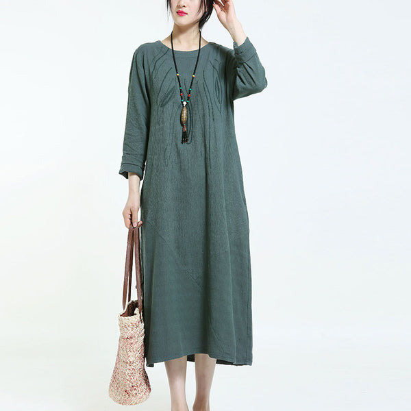 Spring Retro Cotton Embroidered Dark Green Dress