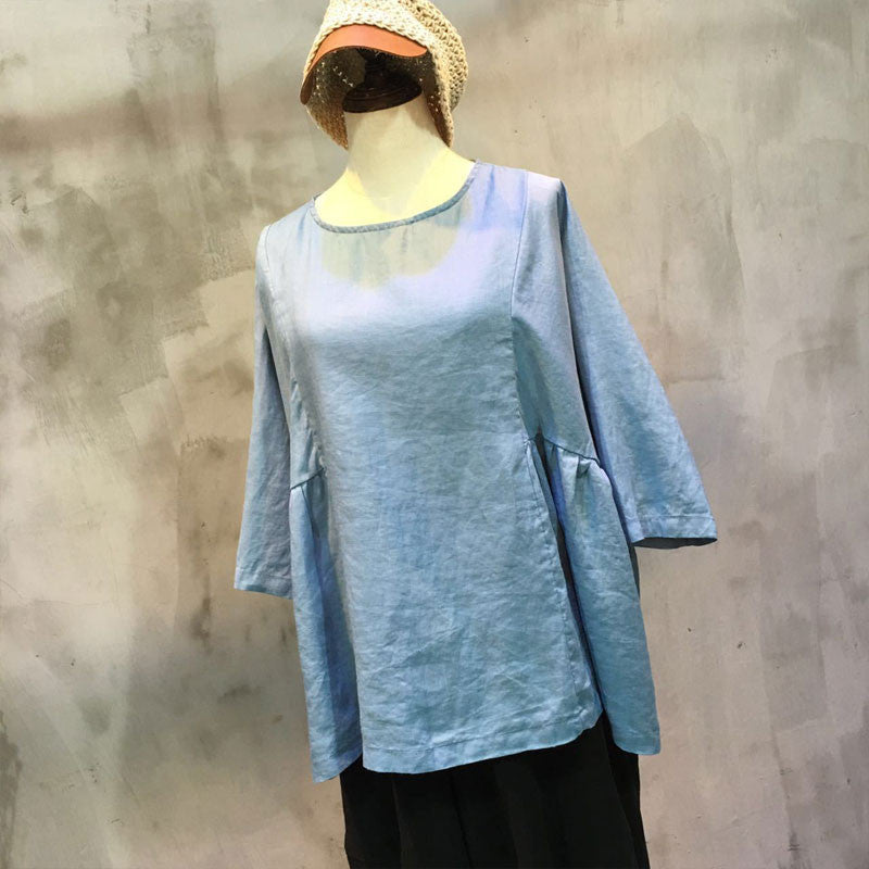 Spring Round Neck Loose Casual Blue Shirt - Buykud