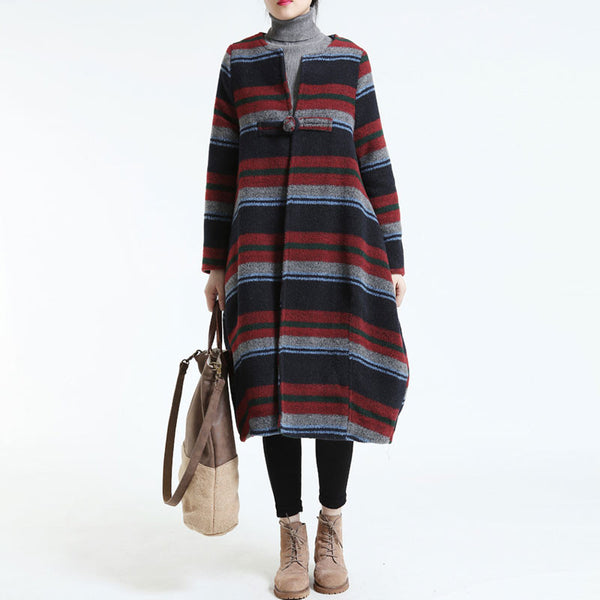 Loose Large Size Woolen coat Red