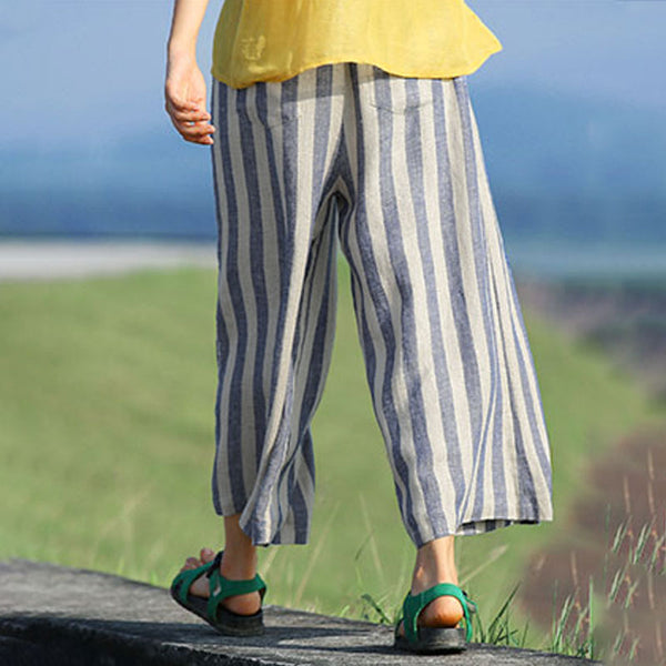 Casual Vertical Blue And White Stripe Women Loose Pants - Buykud