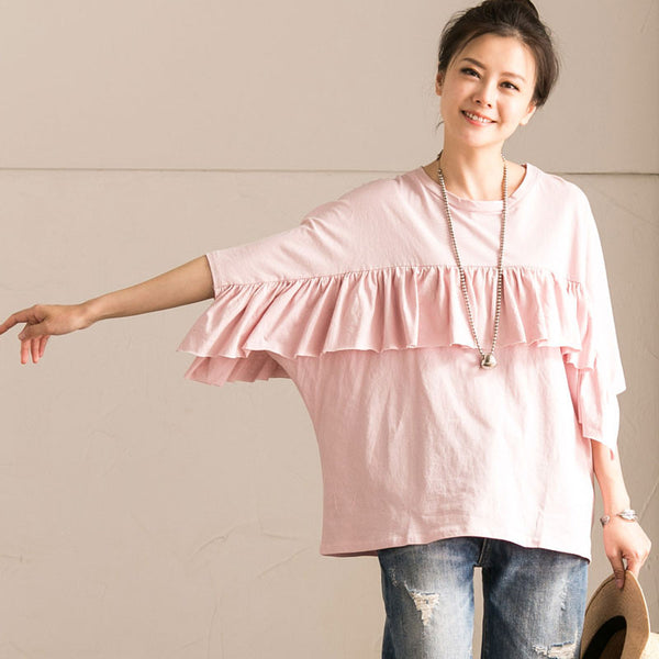 Splicing Flounced Women Loose Casual Cotton Summer Pink Shirt