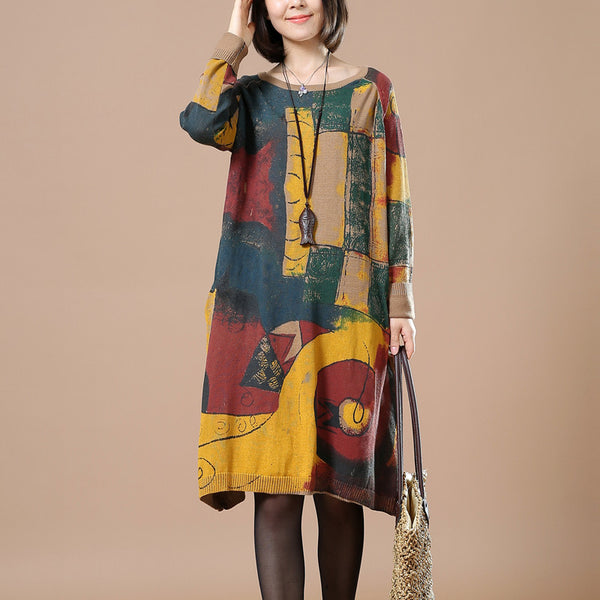 Women Print retro long sleeve dress - Buykud