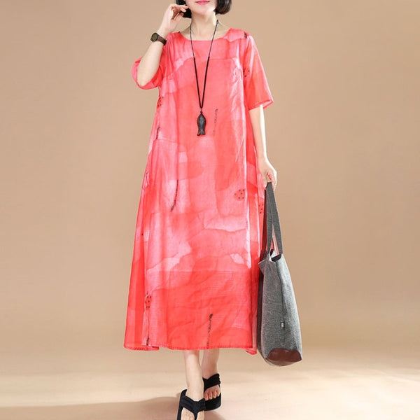 Women Loose Lining Polyester Red Dress