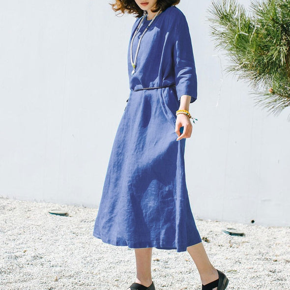 Loose Round Neck Linen Women Simple Blue Dress - Buykud