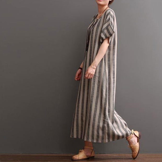 Women Cotton Linen Loose Dress - Buykud