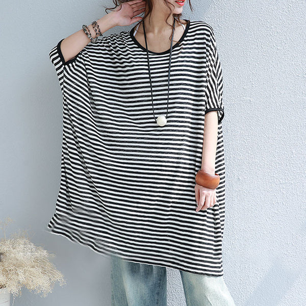Cotton Summer Stripe Women Loose Casual Shoulder Sleeves Shirt