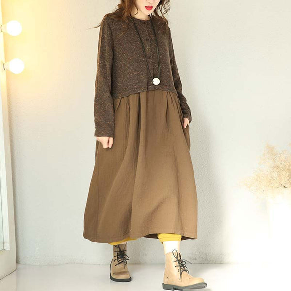 Women Knitting Sweater Round Neck Winter Dress