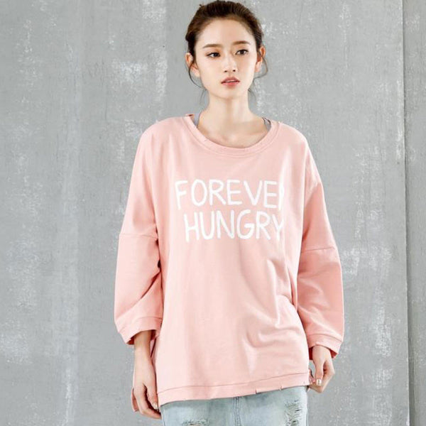 Loose Cotton Casual Bat Sleeve Pink Pullover
