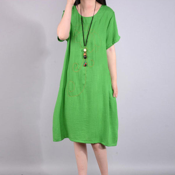 Retro Summer Loose Embroidered Ethnic Green Dress - Buykud