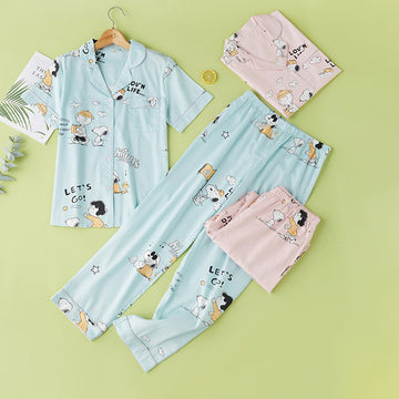Cartoon Cotton Summer Pants Shirt Sleepwear