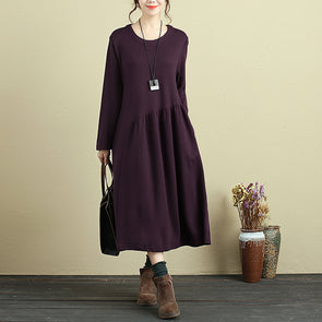 Women Pleated Pockets Long Sleeve Casual Round Neck Dress - Buykud