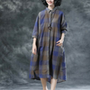 Plaid Casual Pockets Summer Half Sleeve Dress